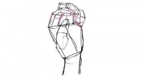 手の描き方を伝授する。まずは線画から。